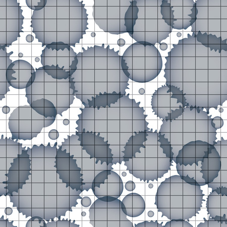 scanned: Vector grayscale acrylic abstract spotted endless grid backdrop, brush painted seamless pattern, graphic creative inky illustration scanned and traced.