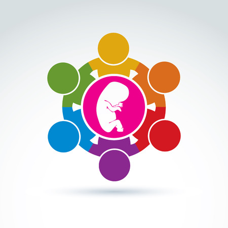 association: Pregnancy and abortion idea, baby embryo symbol. Illustration of a group of people standing - international association for baby protection. Illustration
