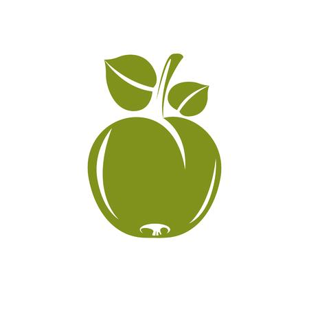 fertility emblem: Single green simple vector apple with green leaves, ripe sweet fruit illustration. Healthy and organic food, harvest season symbol.