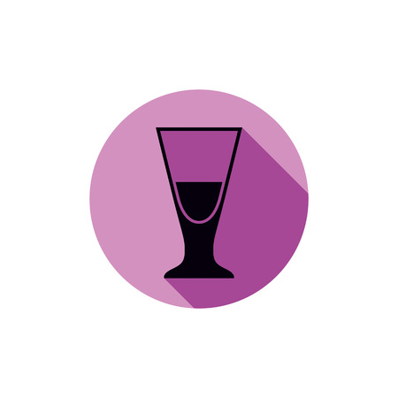revelry: Alcohol beverage theme icon, blend or cocktail glass placed in circle. Colorful restaurants and cafes brand emblem.