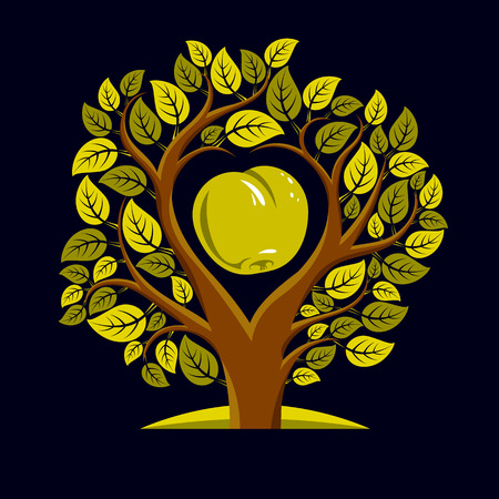 Vector illustration of tree with leaves and branches in the shape of heart with an apple inside. Fruitfulness and fertility idea symbolic picture.