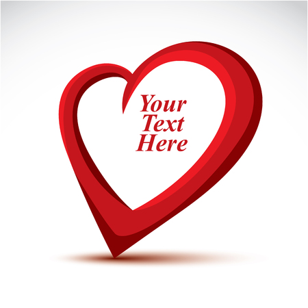 your text here: Decorative vector red love heart made with a copy space inside. You can place your text here. Elegant heart can be used as design symbol on Valentine Day and wedding theme.