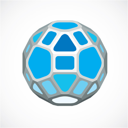 Blue dimensional vector low poly object, ball. Technology 3d spherical element made with rectangular facets for use as design form in engineering.