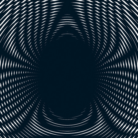 Decorative lined hypnotic contrast background. Optical illusion, creative black and white graphic moire backdrop.