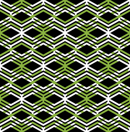 Green abstract seamless pattern with interweave lines. Vector ornament wallpaper. Endless decorative background, visual effect geometric tracery with zigzag lines rhombs. Illustration