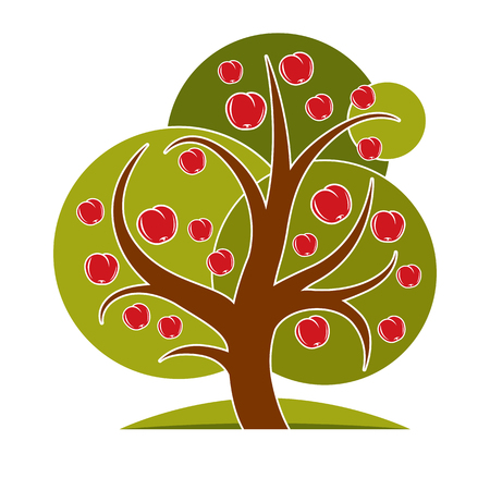 Fruity tree with ripe apples isolated on white. Wealth and prosperity conceptual illustration.