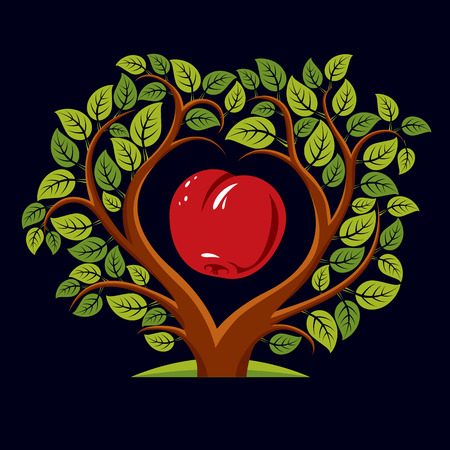 Vector illustration of tree with branches in the shape of heart with an apple inside, love and motherhood idea image. Tree of life theme illustration. Illustration
