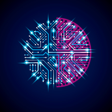 multidirectional: Futuristic cybernetic scheme with multidirectional arrows, vector blue motherboard with neon lights. Circular gleam element with circuit board texture.