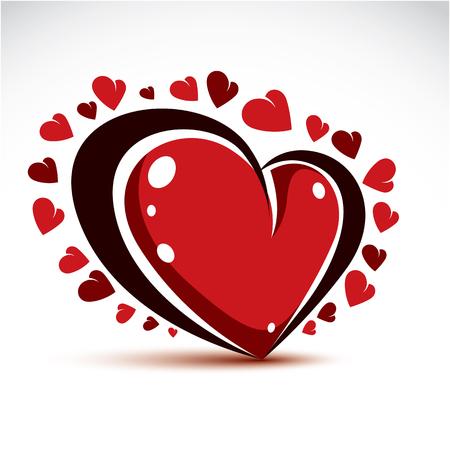 tender sentiment: Vector illustration of 3d elegant red love heart isolated. Valentine Day theme artistic graphic design element.  Glamorous romantic heart shape. Illustration