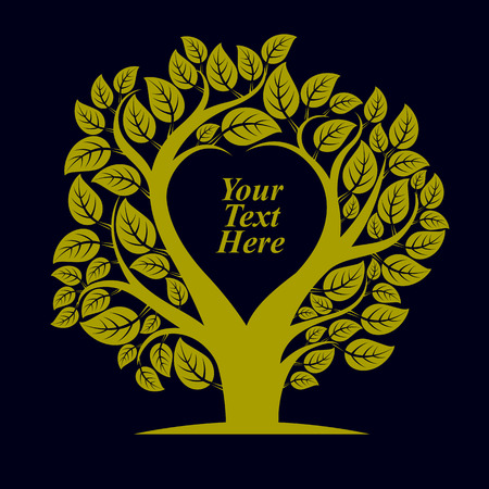 Vector illustration of tree with leaves and branches in the shape of heart with blank copy space. Love and motherhood idea image. You are free to write your text here. Illustration