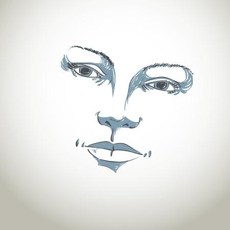 Gezichtsuitdrukking, met de hand getekende illustratie van het gezicht van een meisje met een positieve emotionele uitdrukkingen. Mooie kenmerken van dame gezicht.