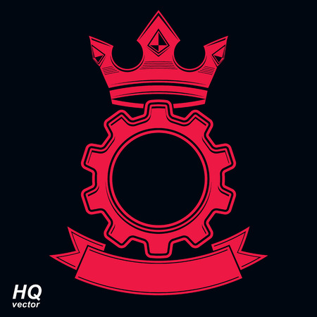 rown: Vector industrial design element, cog wheel with a coronet and decorative ribbon. High quality manufacturing gear icon. Royal heraldic coat of arms.