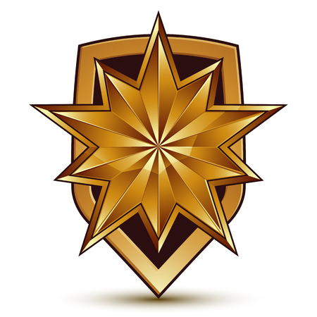 3d heraldic vector template with polygonal golden star, dimensional royal geometric blazon isolated on white background. Illustration