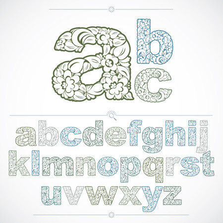 typescript: Set of beautiful lowercase letters decorated with herbal ornament. Colorful vector typescript made in floral style.