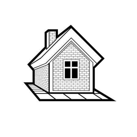Simple mansion icon isolated on white background, vector abstract house. Country house, conceptual sign best for use in graphic and web design.