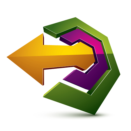 3d abstract symbol with an arrow. Business development and success concept vector design element, innovations theme icon.