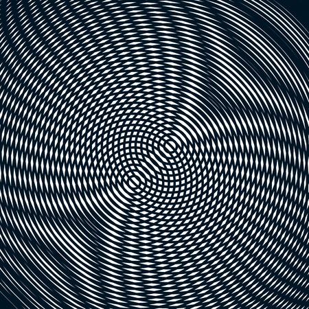interference: Optical background with monochrome geometric lines. Moire pattern, trance effect.