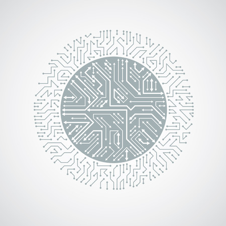 multidirectional: Round circuit board with electronic components of technology device. Computer motherboard cybernetic monochrome vector abstraction with multidirectional arrows.