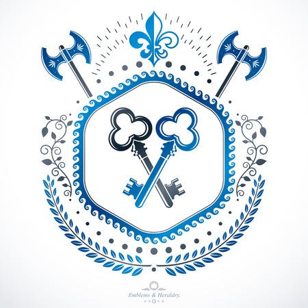 armory: Luxury heraldic vector emblem template. Vector blazon.