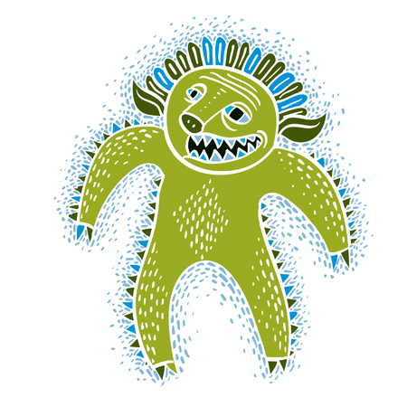 mythic: Vector cool cartoon monster, simple weird creature, green devil. Clipart mythic character for use in graphic design and as mascot.