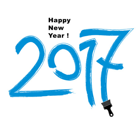 2017 vector illustration, Happy New Year inscription made with brushstrokes drawn with painting brush.