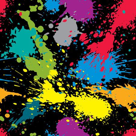 Colorful splattered web design repeat pattern, messy art ink blob, paintbrush drawing. Bright graffiti seamless background, eps8.