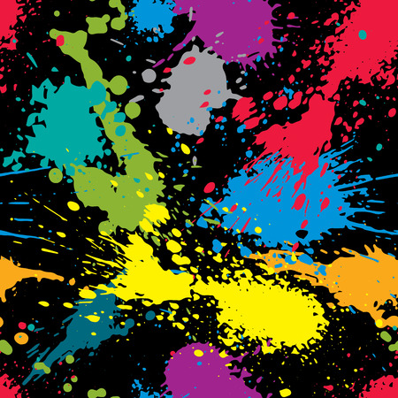 Colorful splattered web design repeat pattern, messy art ink blob, paintbrush drawing. Bright graffiti seamless background, eps8.