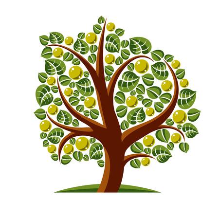 symbolic: Tree with ripe apples, harvest season theme illustration. Fruitfulness and fertility idea symbolic image. Illustration