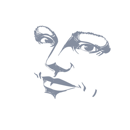 bemused: Monochrome silhouette of peaceful attractive lady, face features. Hand-drawn vector illustration of woman visage, outline.