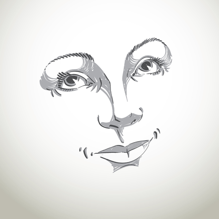 white mask: Hand-drawn illustration of woman face, black and white mask with emotions. Features of beautiful romantic girl, posing for portrait. Illustration