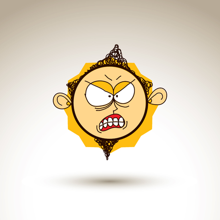 Vector colorful hand drawn illustration of irritated cartoon boy isolated on white background, simple design element, web avatar idea. Facial expressions on teenager face. Illustration