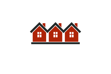 locality: Simple cottages vector illustration, country houses, for use in graphic design. Real estate concept, region or district theme. Building company abstract corporate image.