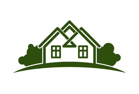 Abstract vector illustration of country houses with horizon line. Village theme picture, simple buildings on nature background, graphic emblem for advertising and real estate. Illustration