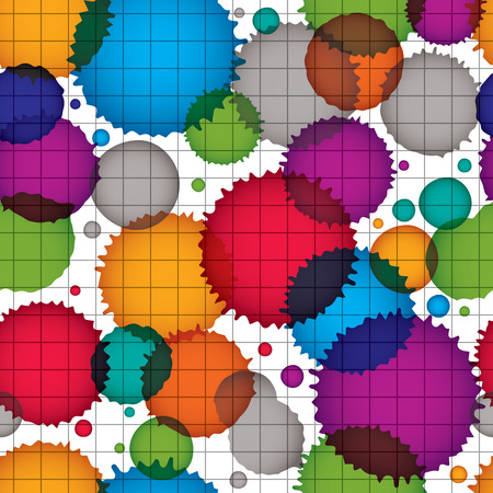 Vector ink splash seamless pattern with rounded overlap shapes, grid dirty graphic art repeat backdrop with overlap acrylic spots, scanned and traced.