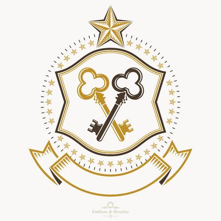 Vintage award design, vintage heraldic Coat of Arms. Vector emblem. Illustration