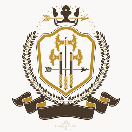 armory: Retro vintage Insignia. Vector design element. Illustration