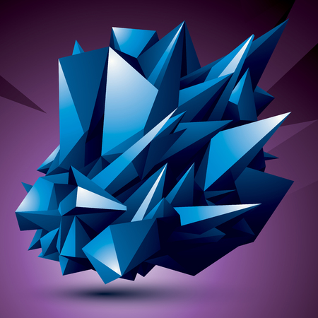 complicated: Geometric abstract 3D complicated object, colorful asymmetric element isolated. Illustration