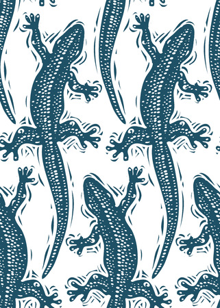 reptiles: Vector lizards wrapping paper, seamless pattern with reptiles, art zoology wallpaper. Stylized lizards top view. Illustration