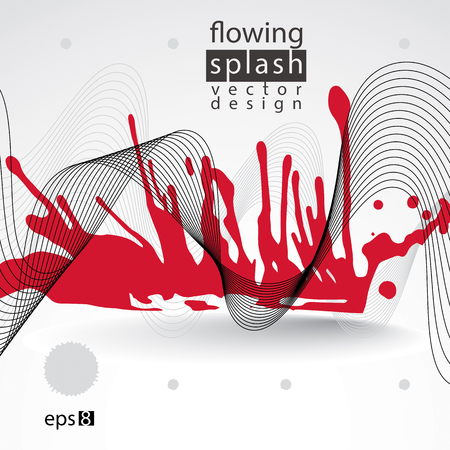 splattered: Splattered web design element, art ink blob, bright paintbrush drawing with flowing lines. Light smudge graffiti background.