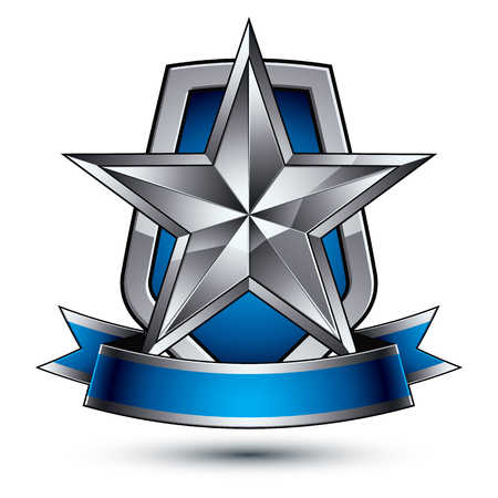 glorious: Renown vector silver star with wavy ribbon placed on a protection shield, 3d sophisticated pentagonal design element, clear EPS 8 emblem. Illustration