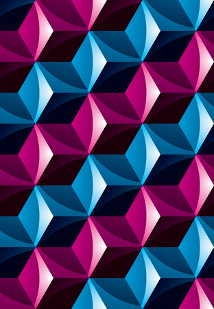 Colorful illusive abstract geometric seamless pattern with 3d cubes. Vector stylized texture, best for graphic and web design.