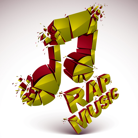 Golden 3d vector shattered musical note with specks and refractions. Dimensional facet design music demolished symbol. Rap music theme. Illustration