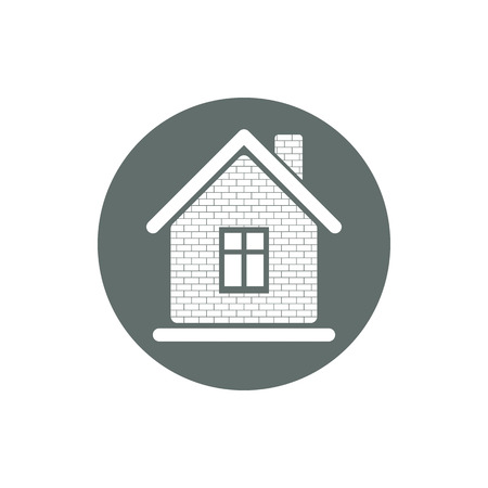 real estate agency: Property symbol, house constructed with bricks. Real estate agency vector emblem. Round sign with home illustration. Illustration