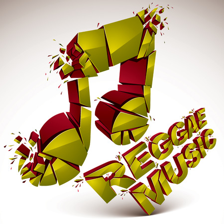 splinter: Green 3d vector musical note created from refractions isolated on white. Three-dimensional transform music theme design element. Reggae music theme
