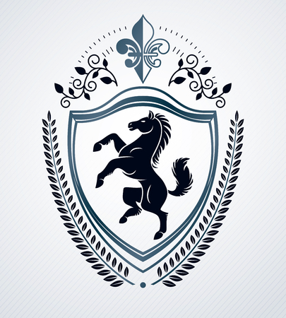 armory: Vintage decorative emblem composition, heraldic vector.
