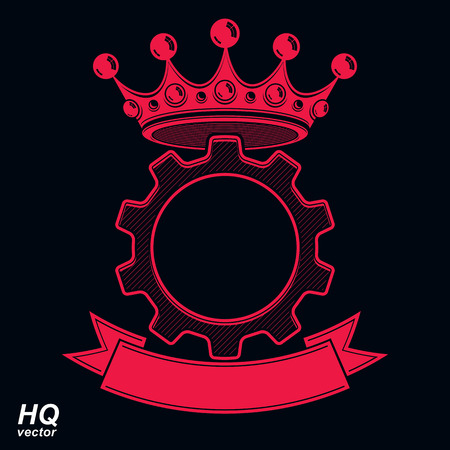 coronet: Vector industrial design element, cog wheel with a coronet and decorative ribbon. High quality manufacturing gear icon. Royal heraldic coat of arms.