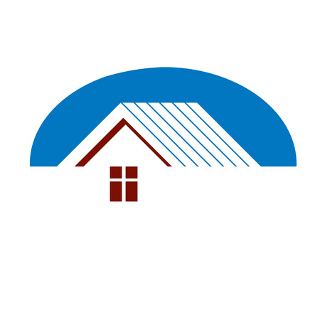 Construction company abstract vector symbol, building corporation. House design element, simple property developer or estate agency icon.