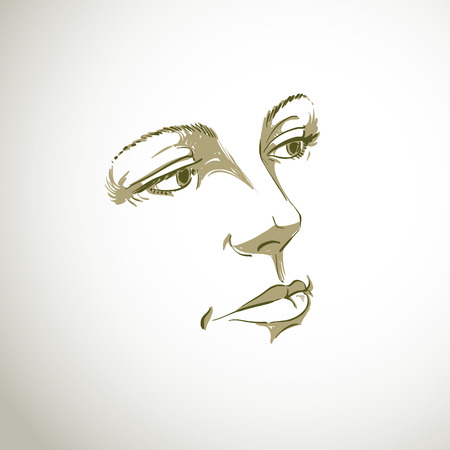 features: Monochrome silhouette of romantic attractive lady, face features. Hand-drawn vector illustration of woman visage, outline.