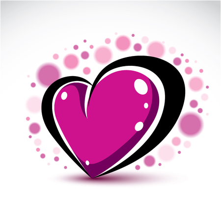 tender sentiment: Love and romance symbolic object, Dimensional purple heart decorated with transparent bubbles. Vector symbol can be used in wedding theme. Illustration