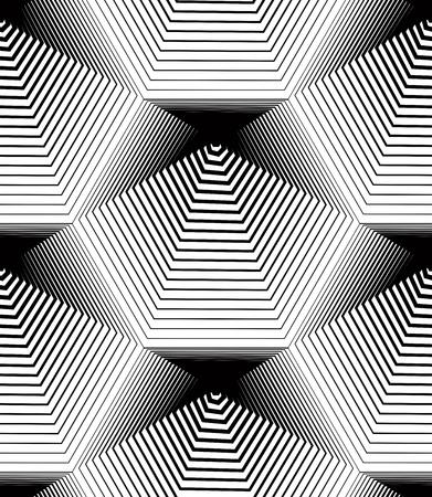 Geometric monochrome stripy seamless pattern, black and white vector abstract background. Graphic symmetric backdrop. Vektorové ilustrace
